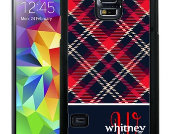Personalize Rubber Case For Samsung Note 3, Note 4, Note 5, or Note 8- Navy Red Plaid Flannel