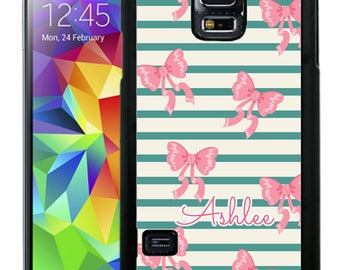 Personalize Rubber Case For Samsung Note 3, Note 4, Note 5, or Note 8- Teal Stripes Pink Bows