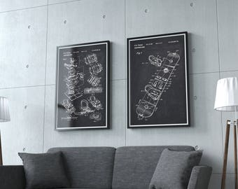 Snowboard Patent Prints, Set Of 2 Binding Mechanism Patent Posters, Ski Hut  Decor, Alpine Hut, Chalkboard A4 Patent, Black Print,IAP0265