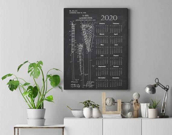 Gift for Coach Lacrosse Stick Blueprint 2020 Calendar Lacrosse Stick Patent