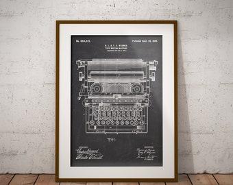Typewriter Patent Poster, Type-writer Poster, Typewriter Print, Gift for a Writer, Literary, Typewriter Blueprint,Typewriter Machine,IAP0316