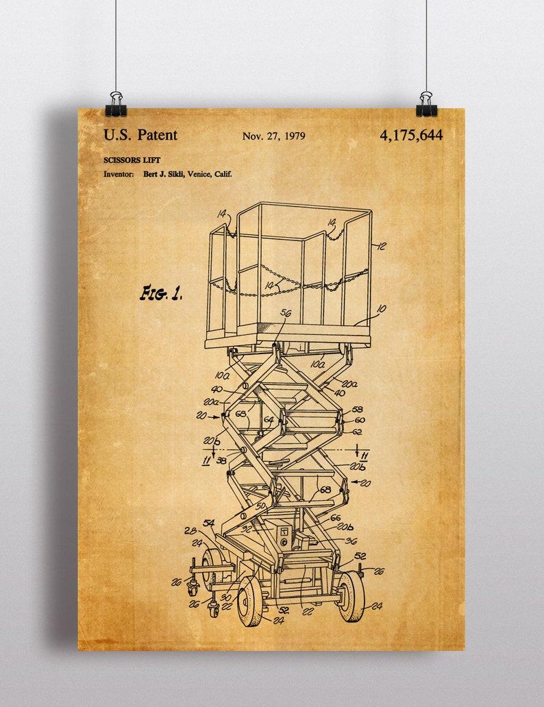 Scissor Lift Patent Print - Scissor Lift Poster - Scissor Lift Blueprint -  Construction Equipment Patent Art - Heavy Equipment Patent Poster