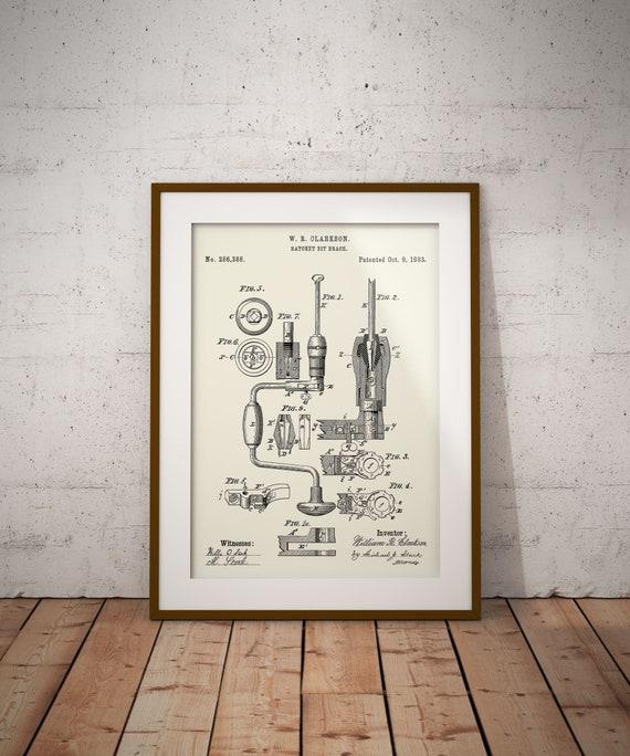 USA Patent Drawing RATCHET BIT BRACE Wood tool MOUNTED PRINT 1883 DIY Gift