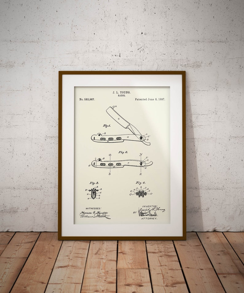 Shaving Razor Patent Home Shaving Razor Print Barbershop Decor Barbers Wall Art Gift for Barber Gift for Dad Shaving Razor Blueprint