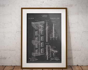 Fire Escape Patent, Fire Escape Print, Fire Escape 1898 Patent, Fire Brigade Wall Decor, Gift for Firefighter,Fire Department Decor,Wall Art