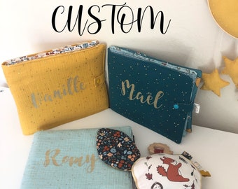 CUSTOM - Baby Photo Album - My first Cloth baby photo book - Quiet Book - Personalized Fabric - Handmade - with name - 4x6 Picture