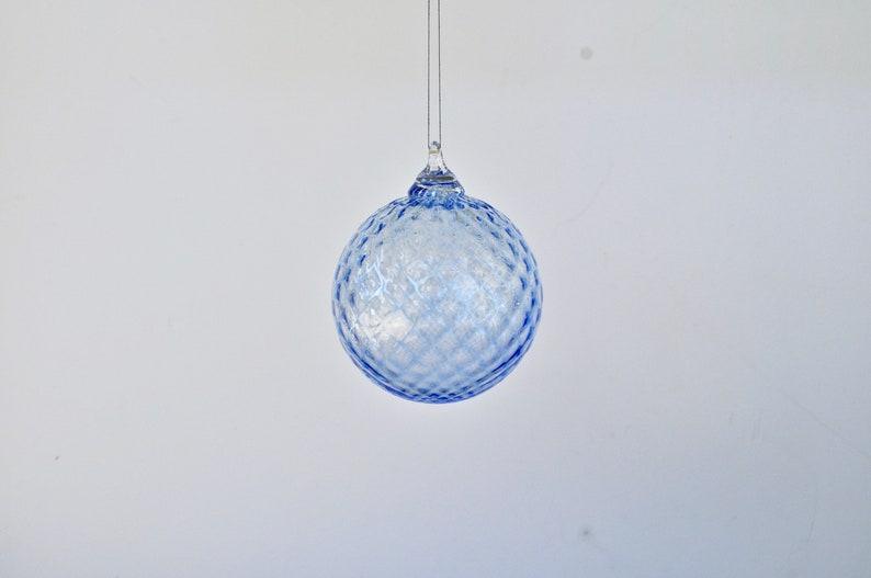 Hand Blown Glass Ornament: Light Blue Glass Christmas Ornament image 0