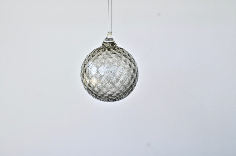 Hand Blown Glass Ornament: Gray Glass Christmas Ornament Blown image 0