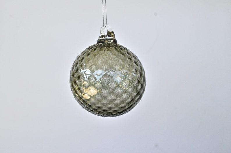 Hand Blown Glass Ornament: Tourmaline Gray Glass Christmas image 0