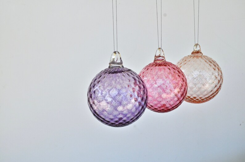 Set Of Three Hand Blown Glass Ornaments Pink Light Pink And Purple Glass Christmas Ornament Set