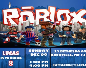 Roblox Invitation Birthday Party Personalized Digital Download Printable