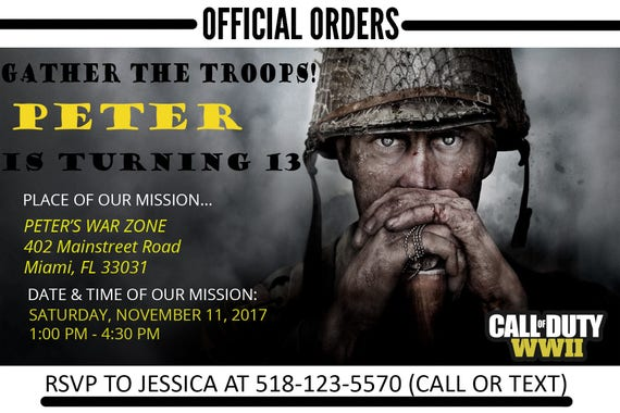 Call of Duty WWII Birthday Invitation Personalized Print ...