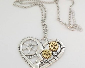 Gear Heart Pendant Necklace