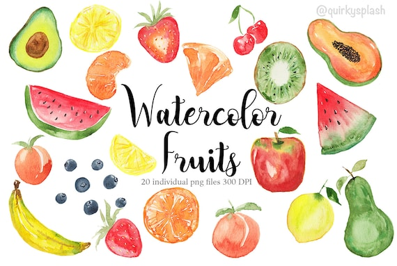 Watercolor Fruits Clipart Watercolour Fruits Illustration Etsy