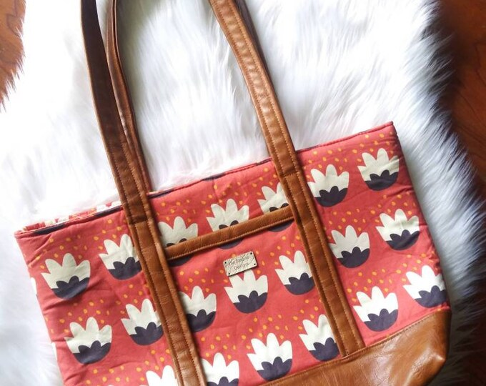 Featured listing image: Red Flower Tote with Faux Leather Straps - Large Handbag - Medium Tote