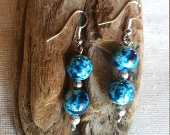 Handmade sterling silver earrings with silver & blue/white/turquoise round beads, jewelry, gift, mothers day, birthday, just because