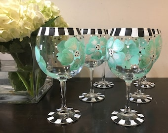 Hand Painted Wine Glasses Tiffany Blue
