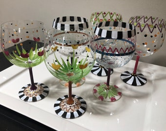 Custom Hand Painted Wine Glasses
