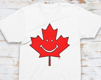 Have A Canadian Day Unisex T-Shirt, Woman and Men, Canada Shirt, Smiley, Maple Leaf