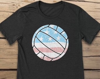 Volleyball USA Flag Unisex T-Shirt, Woman and Men, Cool Shirt, Volleyball Shirt, United States of America