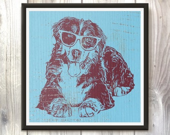 Bernese Mountain Dog Wearing Glasses, Dog Art, Dog Decor, Cute Poster, Puppies