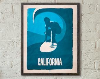 California Surfing Wall Art Poster Print Decor