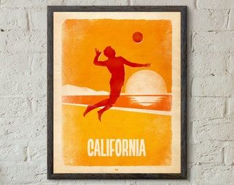 California Beach Volleyball Wall Art Poster Print. Volleyball Wall Art. Beach Art. Beach Decor. Retro Print