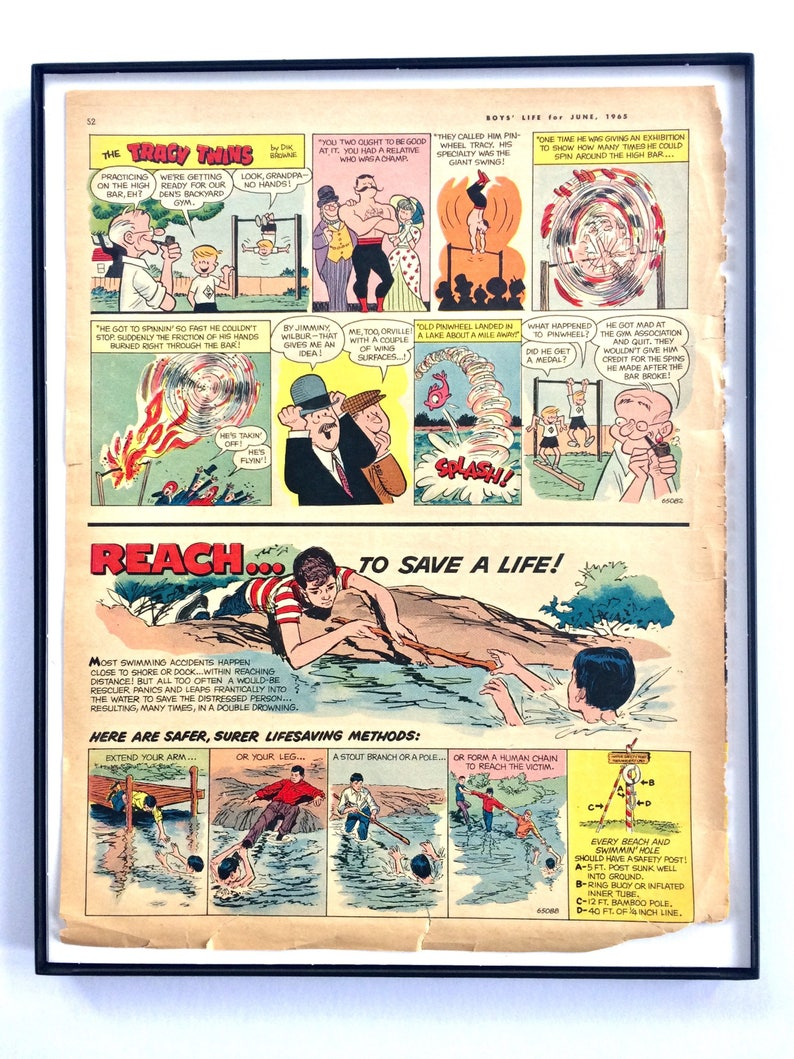 Retro Mini-Poster Blue Naval Sumbarine Rocket or Colorful Lifeguard Comic /  Two-Sided Vintage Boys Room Wall Decor