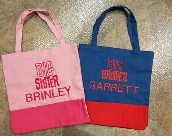 Crayon Tote bag- Children's tote bag - Crayon Bag - Big Brother bag - Big Sister Bag - embroidered bag - personalized crayon bag
