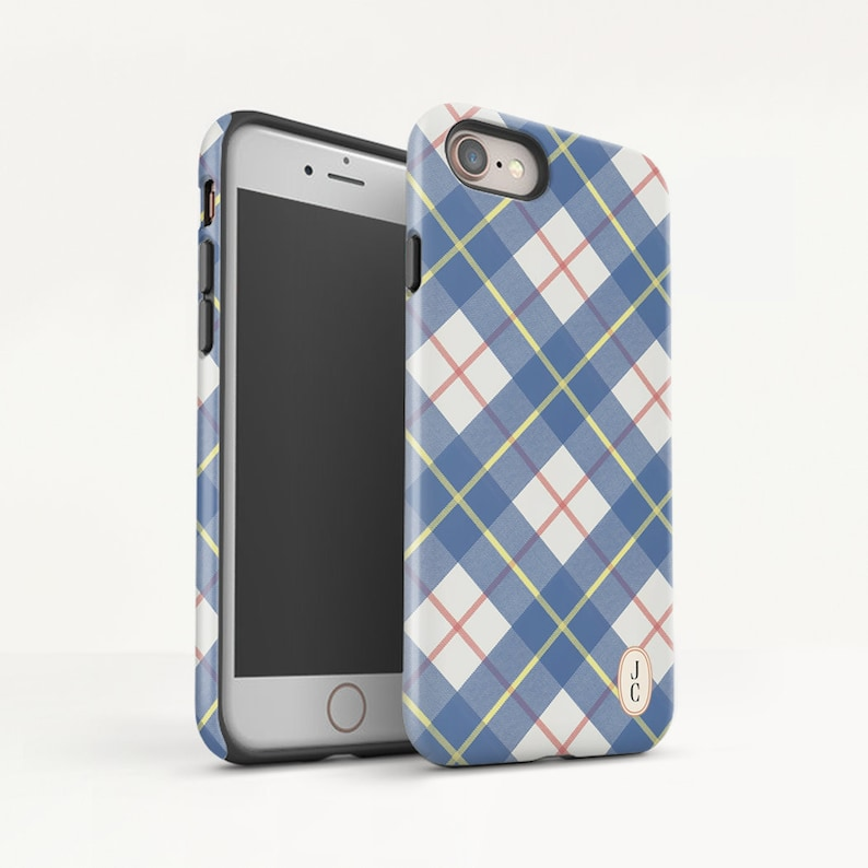 brand new fef79 88fe1 Blue Plaid iPhone XS Max case iPhone XR Phone case iPhone X Protective case  iPhone 8 Plus case iPhone 7 Monogram Phone case. (MB22)
