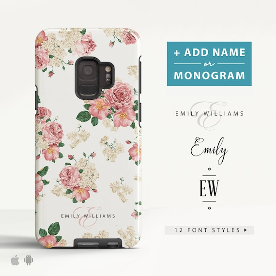 Floral Samsung Galaxy S10 Plus S10e Case Galaxy S9 Galaxy S8 A8 A5 Protective Phone Case Custom Name Case For Samsung. (Fl03) by Etsy