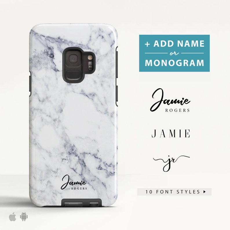 Samsung Galaxy S8 case Marble Samsung Galaxy S9 Plus case Samsung Galaxy  Note 8 case Name Monogram Slim / Tough case for Samsung (MB07)