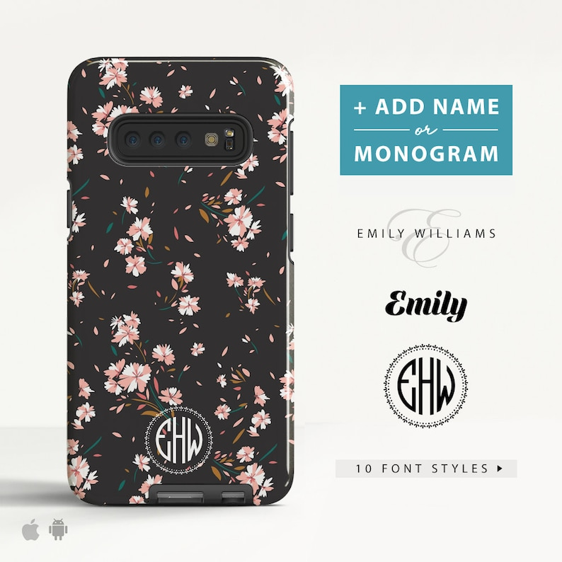 low priced 461d4 08ac7 Personalised Samsung Galaxy S10 Plus case Galaxy S9 S8 Plus Galaxy Note 9  Protective Phone case with Custom Initials for Android. (FL21)