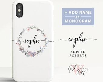 Custom Name iPhone X case iPhone 8 Plus case iPhone 7 case Name Monogram Phone cover for iPhone X 8 7 6 etc. (CL07)