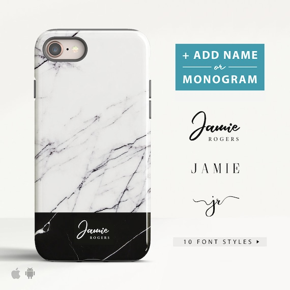 personalised iphone 8 plus case marble