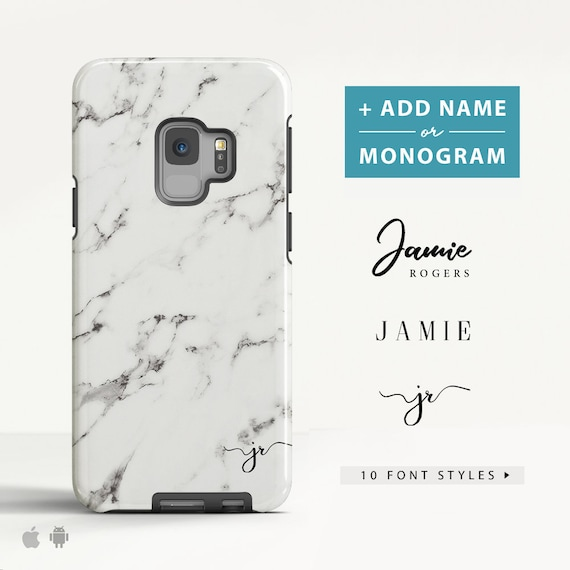detailed pictures 16901 9d969 White Marble Samsung Galaxy S9 case Samsung Galaxy S6 case Samsung Galaxy  A5 case Personalised Name Slim / Tough case for Samsung. (MB01)