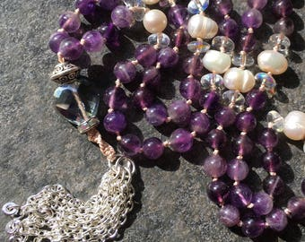 Universal Connection Mala: 108-bead Hand-knotted Japa Mala in Amethyst