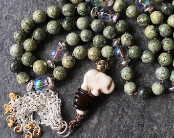 Belonging Mala: 108-bead Hand-knotted Japa Mala in Mossy Stone