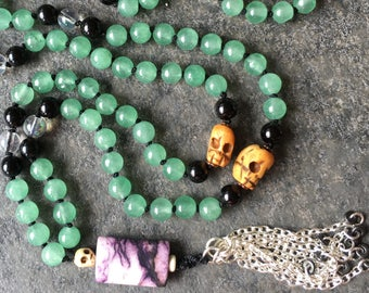 Self-Love Mala: 108-bead Hand-knotted Japa Mala in Green Aventurine