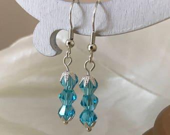 Light blue aqua crystal bicone silver earrings