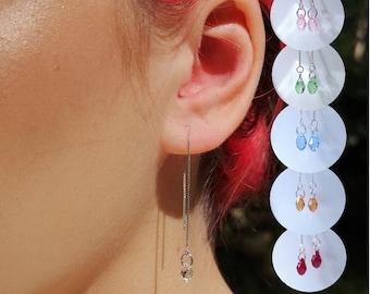 sterling silver threaders white purple plum natural freshwater pearl box chain Pearl earrings long dainty minimalist earrings chic gift