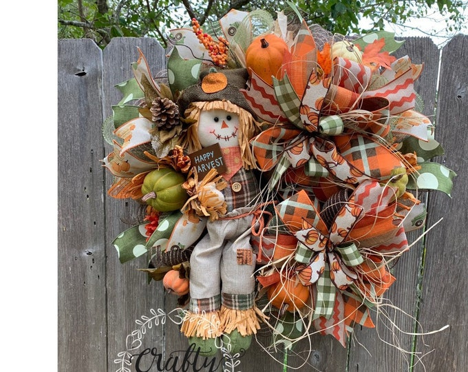 Fall Wreath, Scarecrow Wreath, Thanksgiving Wreath, Fall Pumpkin Wreath, Autumn Wreath, Fall Wreath for front Door, Pumpkin Decor