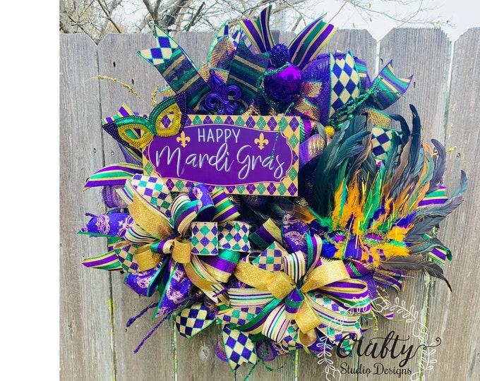 Mardi Gras Wreath, Mardi Gras Decor, Mardi Gras Masks, Fleur-de-lis Wreath, Mardi Gras Decorations, Front Door Wreath, Louisiana Mardi Gras