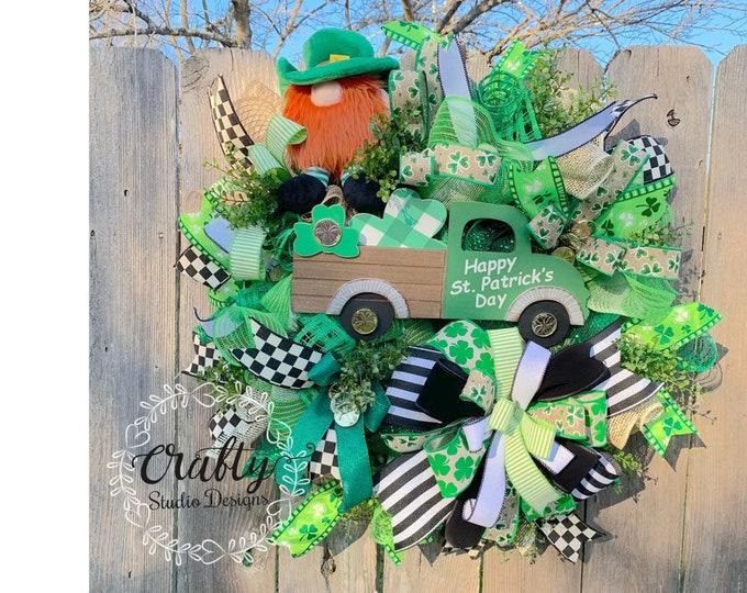 St patricks day wreath, Spring Wreath, st patricks day wreath Leprechaun Wreath, Shamrock wreath, for front door, st patricks day decor