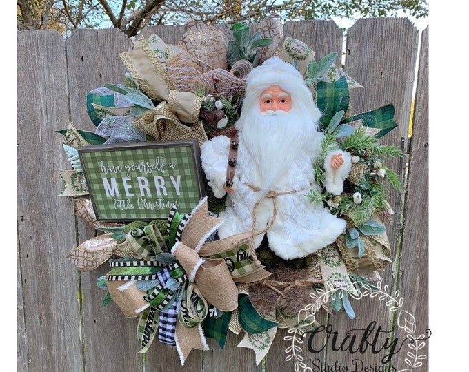 Christmas Wreath, Santa Claus Wreath, Christmas Wreath for Front Door, Holiday Wreath with free shipping, Christmas Swag, Noel Wreath