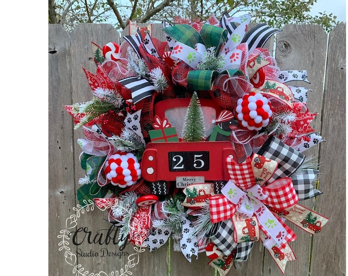 Red Truck Christmas, Holiday Wreath, Christmas Wreath for Front Door, Christmas Dog Wreath, Paw Print Wreath, Pet Wreath, Holiday Decor