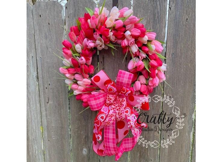 Valentines Wreath, Valentines Day Wreath, Love Wreath, Valentines Gift, Tulip Wreath, Valentines Decor, Valentines Tulips, Valentines Pink