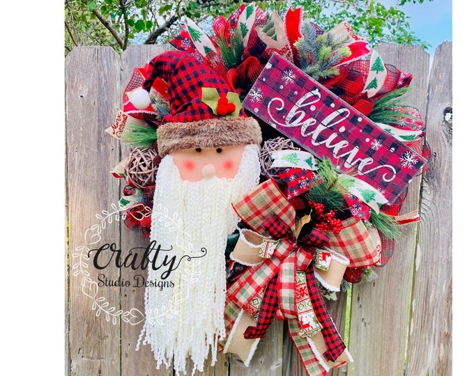 Christmas Wreath for front door, Holiday Wreath with Free Shipping, Santa Wreath, Noel Wreath, Buffalo Plaid Wreath, buffalo plaid