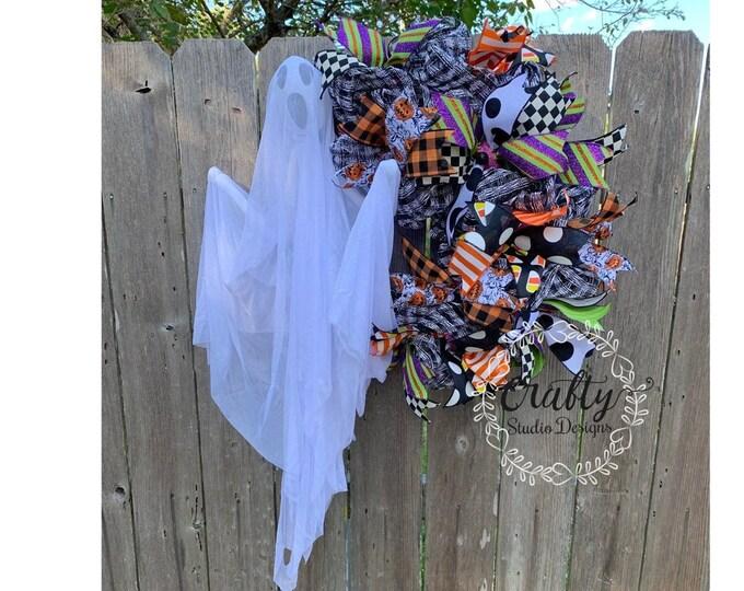 Ghost Wreath for Front Door, Halloween Wreath, Ghost Mesh Wreath, Boo Wreath, Halloween Mesh Wreath, Fall Wreath