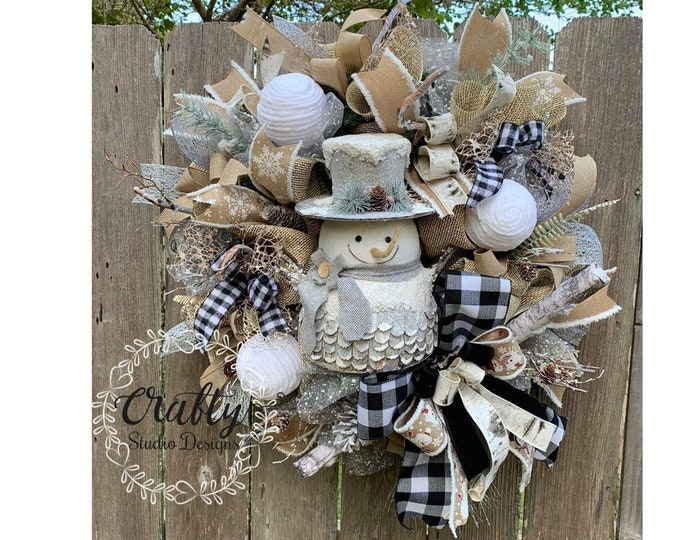 Snowman wreath, Winter Wreath, Christmas wreath, Let it Snow Wreath, Rustic Winter Wreath, Primitive Snowman Wreath, Snowman Decor